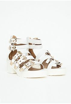 ee29bce9d67b Adonisa Buckle Heel Sandals In White White  62.98 New Shoes