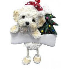 """- Great item for any dog lovers during the holiday gift exchange season. - Hand painted stone resin. - These make adorable holiday additions to a Christmas tree or mantel. - The name plate can be """"per"""