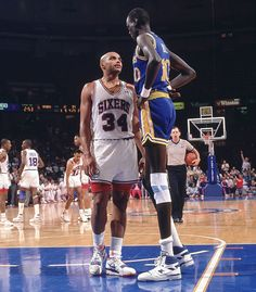 6-foot-6 Charles Barkley stares down (or up) 7-foot-7 Manute Bol during a Sixers-Warriors game on Feb. 7, 1990. The two would later become teammates in Philadelphia. An 11-time All-Star and Hall of...