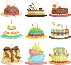 Set of 9 colorful vector cartoon birthday cake templates and illustrations, decorated with candles, strips, stars, fruits and different patterns for your birthday party invitations, happy birthday cards, etc. Format: EPS or Ai stock vector clip art and illustrations. Free…