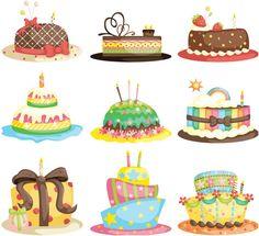 Cartoon birthday cake vector | Vector Graphics Blog