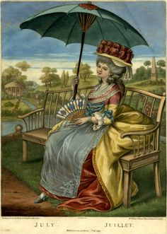 """""""July / The Twelve Months"""". A young woman in fashionable dress shown full-length, sitting on a garden bench directed to left, holding a fan and a parasol; a view of a park with a river, streams, classical temple and obelisk in the background; one of a set of the Twelve Months; date erased from this impression. Hand-coloured mezzotint with some etching."""