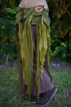 RESERVED - Not For Sale - Nuno Felted Melted Pixie Woodland Nymph Forest Fairy Leaf And Vines With Silk Belt OOAK