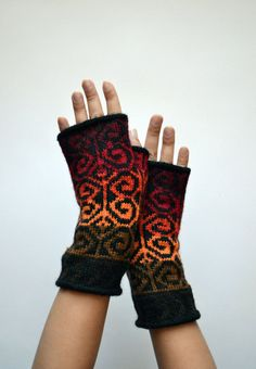 Colorful Wool Arm Warmers  Fingerless Gloves  Ref by lyralyra