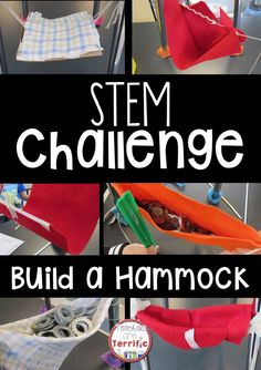 STEM Challenge: Build a hammock using limited materials! Test it with weights, improve the design, and test again! STEM challenge includes detailed teacher directions, hints, lab sheet, and photos!