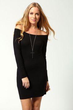 Alice Open Neck Long Sleeve Bodycon Dress