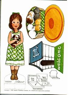 Yet another printable Gingham paper doll set. I had this one, too. :) Sarah's pet shop.
