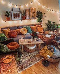 Living Room Decor Cozy, Boho Living Room, Cozy Room, Bohemian Living, Earthy Living Room, Bohemian Decor, Living Room Inspiration, Home Decor Inspiration, Decor Ideas