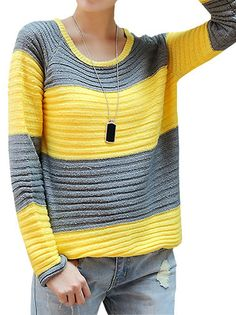 Appealing O-Neck Full Sleeve Contrasting Color Stripes Women Knitting Casual Pullover Sweater on buytrends.com