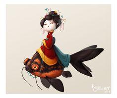 ★Geisha Fish★, Rocío García ART on ArtStation at https://www.artstation.com/artwork/geisha-fish