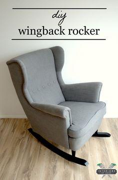 IKEA-Strandmon-Sessel, gekaufte SchaukelstuhlKufen, zwei Löcher, Füße reinleimen, fertig.