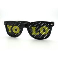 Black YOLO Wayfarer Sunglasses, Yellow Letters