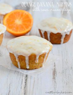 Everyone will love these Orange Banana Muffins. The sour cream glaze makes them extra tasty!
