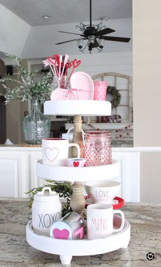 Finally got my Valentine's Day tray all decorated thanks to help from my sweet l… - diy decor new My Funny Valentine, Valentines Food, Valentines Day Decorations, Valentine Ideas, White Tray, Tray Styling, Tiered Stand, Tray Decor, Tiered Cakes