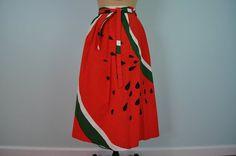vintage watermelon novelty skirt Malia red M by StorylandVintage, $54.00