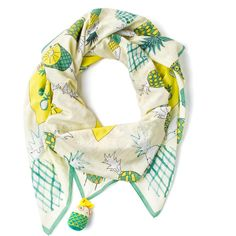 Rumisu Green and Yellow Cotton Scarf Sliced or Diced (€150) ❤ liked on Polyvore
