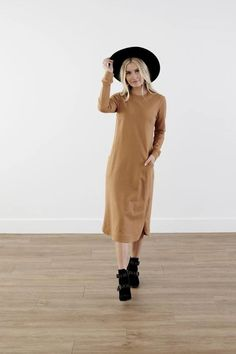 Modest Clothing, Tan Rounded Collar Dress, Modest Clothes
