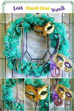 This Mardi Gras Wreath Helps the Good Times Roll - Munofore Mardi Gras Wreath, Mardi Gras Beads, Mardi Gras Party, White Wreath, Diy Wreath, Homemade Wreaths, Wreath Supplies, Good Times Roll, Wreath Forms