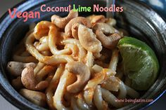 Thai style peanut sauce recipe—vegan coconut lime noodles using udon noodles. This is a really quick recipe that is super easy to make!