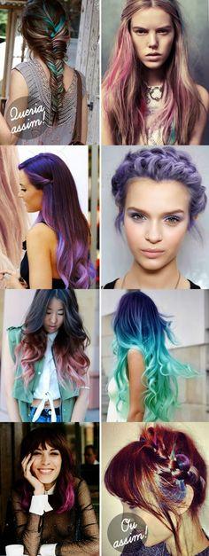 Inspiração cabelos coloridos