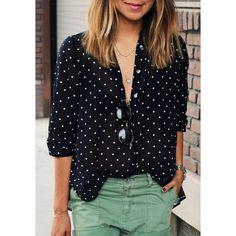 Stylish Shirt Collar Polka Dot Long Sleeves Blouse For Women