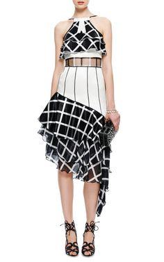 Satin and Chiffon Tiered Ruffled Dress by Rodarte - Moda Operandi