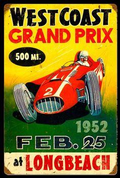 Retro Grand Prix Tin Sign 18 x 12 Inches                                                                                                                                                                                 More