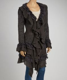 Take a look at this Gray Ruffle Wool-Blend Duster on zulily today!