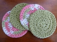Crochet Green and Pink Coasters (Set of Four)