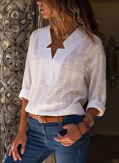 V-Neck Long Sleeve Casual Blouse - Sleeve-V-Ausschnitt Langarm Casual Bluse – – V-neck Long Sleeve Casual Blouse – – - Trendy Dresses, Casual Dresses, Work Dresses, Affordable Dresses, Cheap Dresses, Party Dresses, White V Necks, Look Chic, Shirt Blouses