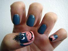 Eeyore Winnie the Pooh nails. My mom was such an Eeyore fan! Nail Art Designs, Disney Nail Designs, Nails Design, Fancy Nails, Cute Nails, Pretty Nails, Crazy Nails, Eeyore, Nail Art Disney