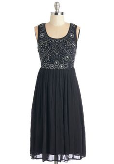 Embellishment to Be Dress in Black. The moment you lay eyes on this dazzling black party dress, you know it must be fashionable fete! #gold #prom #modcloth