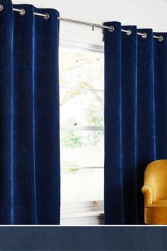 Buy Soft Velour Eyelet Lined Curtains from the Next UK online shop Navy Blue Curtains, Navy Blue Sofa, Living Room Drapes, Bedroom Drapes, Bedrooms, Art Deco Bedroom, Boys Bedroom Decor, Bedroom Ideas, Sheer Drapes