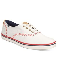 Play ball! Ked's Champion Pennant sneakers are fashioned in red, white, and blue with whipstitch details in a fun nod to America's favorite pastime. | Fabric upper; manmade sole | Imported | Round clo