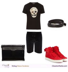 Men Sunset Drink outfit featuring an Alexander McQueen patchwork t-shirt, a pair of Velour Versace shorts, a pair of Gucci trainers and a Balenciaga pouch. Summer Shorts Outfits, Short Outfits, Drinks Outfits, Sunset Drink, Versace Shorts, Gentleman, Pouch, Blog, T Shirt