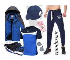 """""""Newchic-#sweatpants"""" by autumn-soul ❤ liked on Polyvore featuring Vineyard Vines, Ray-Ban, men's fashion and menswear"""