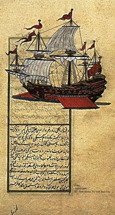 """Göke"":  an Ottoman war ship of the 'kalyon' type.  Ca. 1500."