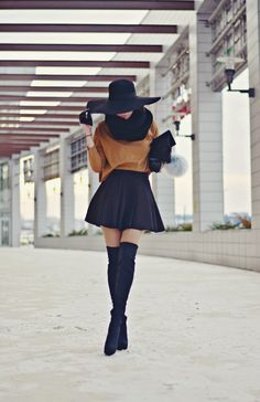 Cold as Ice river island, puffy clutch, skirt, knee high boots, hats, style, streetstyle, fashion blogger, gloves