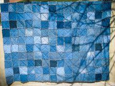Upcycled Denim Rag Quilt Queen Size Jean Quilt Handmade