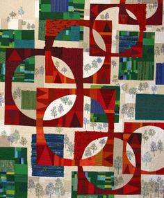 The Summer Sun II art quilt  by Reiko Naganuma of Utsunomiya, Tochigi, Japan.  IQA winner. Woven pieces are integrated into the pieced design.  These overlapping cut-out circles bring to mind mid-century modern influences.