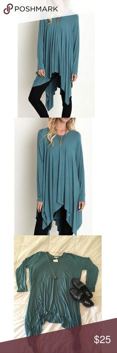 NWOT Trapeze Tunic Never been worn, NWOT Trapeze style teal tunic with a beautiful cascade drapery down the side. Perfect for layering with your favorite vest, leggings and boots! Umgee Tops Tunics