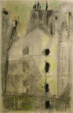 'Paris facade III' (1953) by American painter Lyonel Feininger (1871-1956). via the white hotel