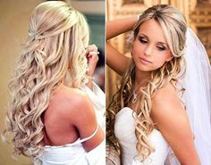 half up half down wedding hairstyle with veil - Google Search