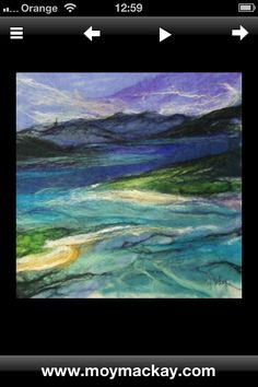 'Luskentyre' by Moy Mackay Made with Felt! Felt Pictures, Fabric Pictures, Wet Felting Projects, Felt Wall Hanging, Felt Embroidery, Wool Art, Landscape Quilts, Textiles, Thread Painting