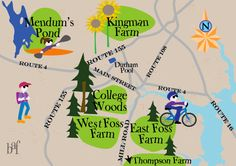 A whimsical map of UNH Recreation Areas.