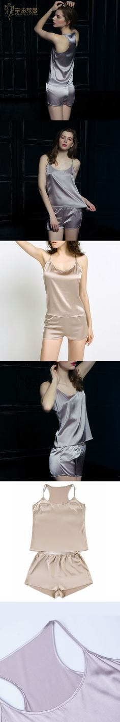 Women's Pure Mulberry Silk Pajama Set Sexy Nightwear 100% Silk Nighties nightgown female sleepwear