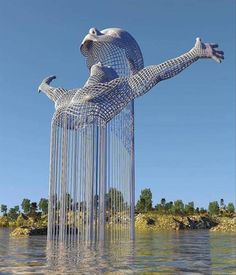 Science Discover Stunning Surreal Digital Art of Chad Knight. Chad Knightss 365 digital art challenge quickly turned into a coded personal journal. Land Art Modern Art Contemporary Art Street Art Instalation Art Urbane Kunst Wow Art Public Art Oeuvre D& Instalation Art, Urbane Kunst, Art Sculpture, Water Sculpture, Wow Art, Futuristic Architecture, Architecture Design, Architecture Definition, Architecture Portfolio