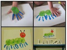 hand print caterpillar - Gerepind door www.gezinspiratie.nl #knutselspiratie #knutselen #creatief #kind #kinderen #kids #leuk