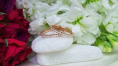 Beautiful diamond bands in rose gold by David Klass Jewelry.