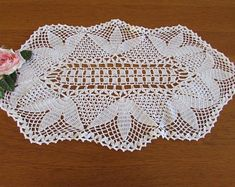 White Vintage Crocheted Centrepiece - White Crocheted Doily - Vintage Wedding - Shabby Chic by MomsGiftShoppe on Etsy Crochet Table Topper, Wood Napkin Holder, Vintage Baby Boys, Table Toppers, Diamond Design, Vintage Table, Vintage Crochet, Crochet Doilies, Shabby Chic